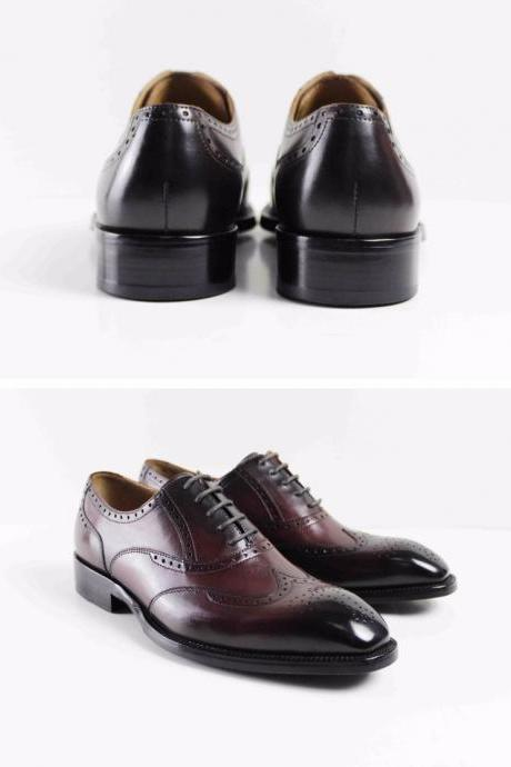 Handmade Custom Made Mens Oxford Shoes Luxury Party Dress Genuine Leather shoes