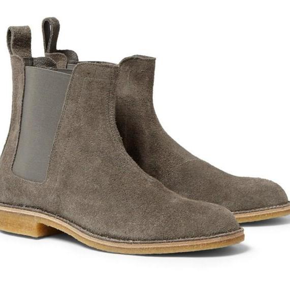 Gray Chelsea Suede Leather High Boots Men's 2016