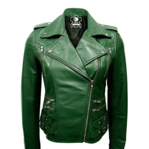 ELEGANT BRANDO CLASSIC GREEN LEATHER JACKET 2016 WOMAN'S