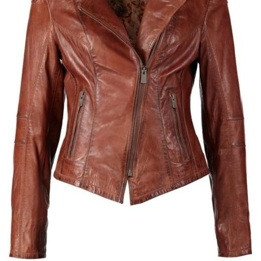 ORIGINAL MS CLASSIC BROWN ORIGINAL LEATHER JACKET 2016 WOMAN'S